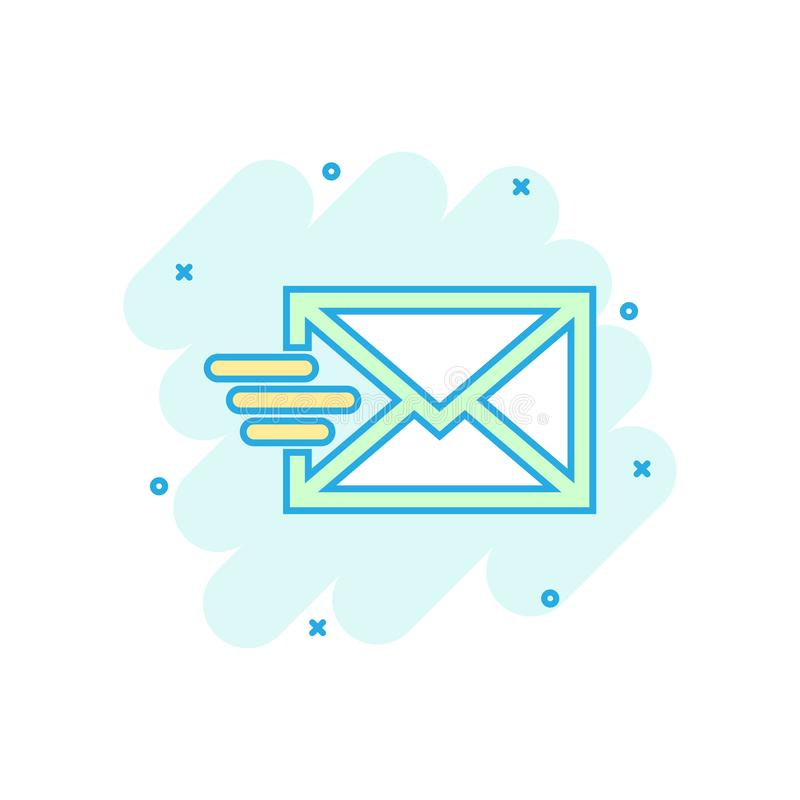 Icono del sobre del correo en estilo cómico Pictograma del ejemplo de la historieta del vector del correo electrónico Chapoteo de ilustración del vector