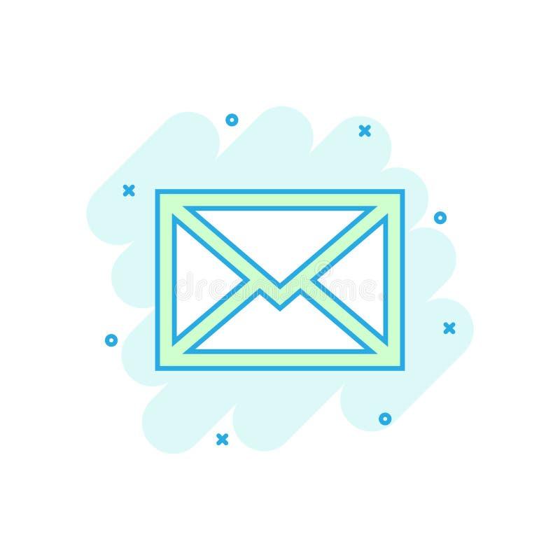 Icono del sobre del correo en estilo cómico Pictograma del ejemplo de la historieta del vector del correo electrónico Chapoteo de stock de ilustración