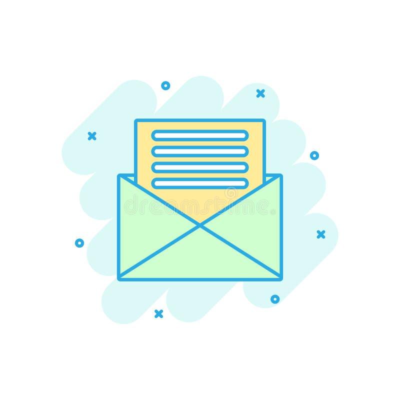 Icono del sobre del correo en estilo cómico Pictograma del ejemplo de la historieta del vector del correo electrónico Chapoteo de libre illustration