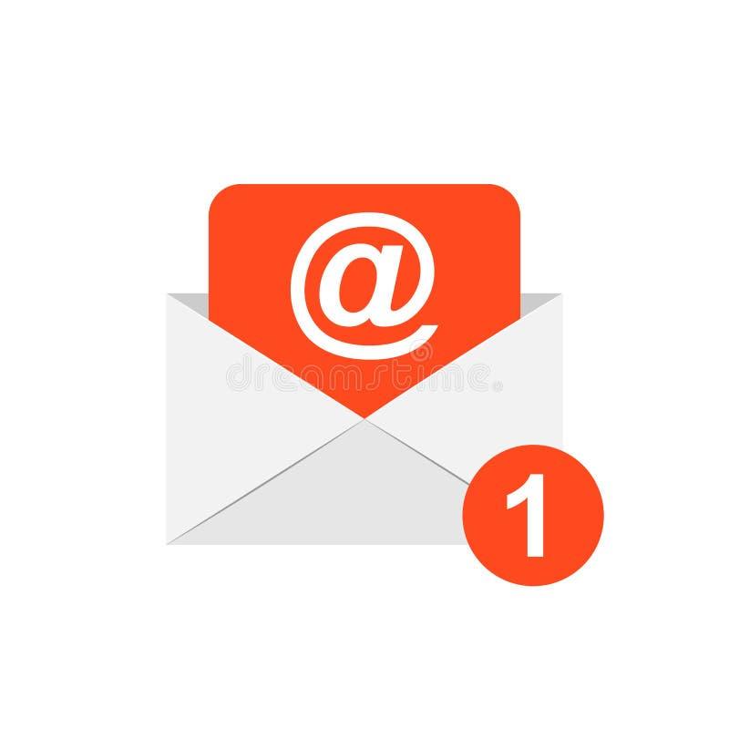 Icono del sobre del correo en estilo plano Illustrat del vector del correo electrónico ilustración del vector