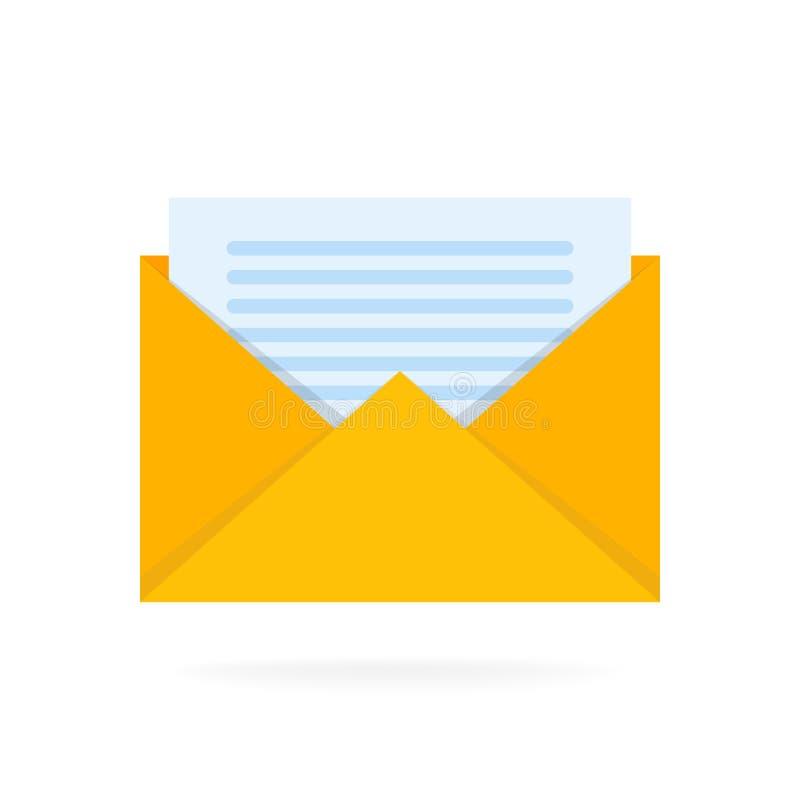 Icono del sobre del correo con los documentos El correo electrónico envía el ejemplo del vector del concepto libre illustration