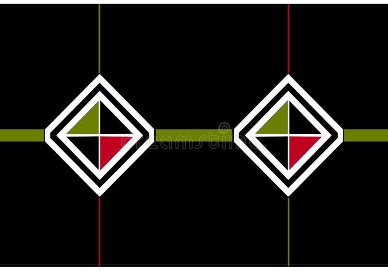 Icono del sobre: diamantes blancos y negros con los triángulos negros, verdes olivas y rojos ilustración del vector