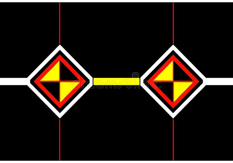 Icono del sobre: diamantes negros, anaranjados y blancos con los triángulos negros y amarillos ilustración del vector