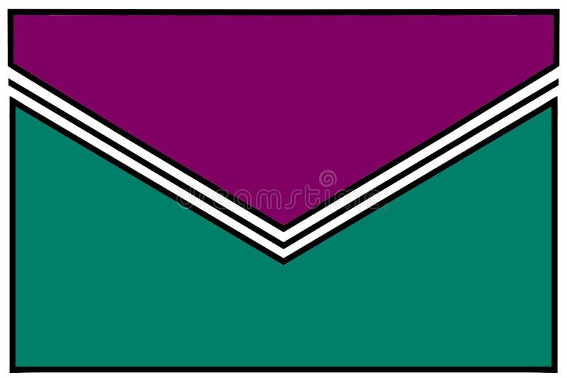 Icono del sobre: mar azul y púrpura con el doblez blanco y negro de la goma y las fronteras blancas stock de ilustración