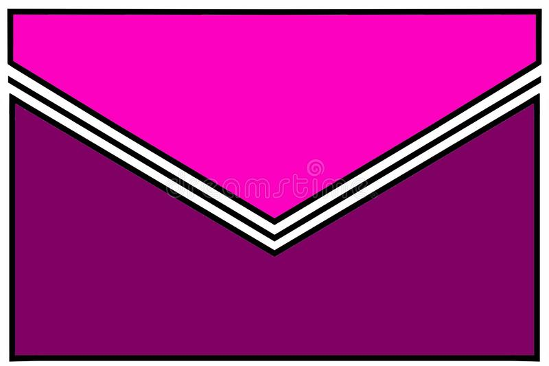 Icono del sobre: rosa y púrpura con el doblez blanco y negro de la goma y las fronteras blancas libre illustration