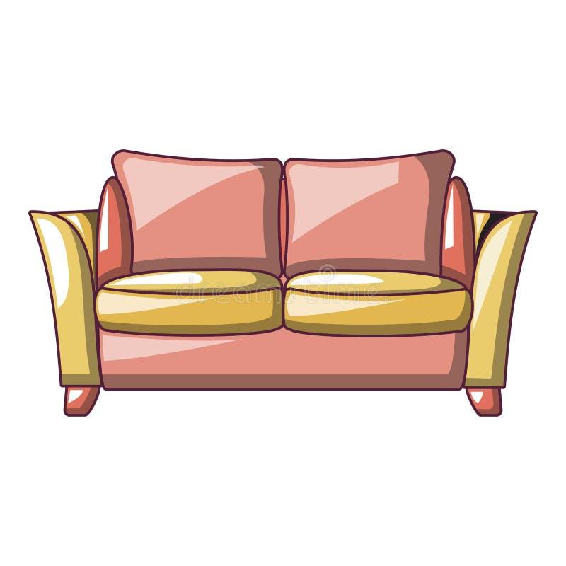 Icono del sofá del asiento para dos, estilo de la historieta libre illustration