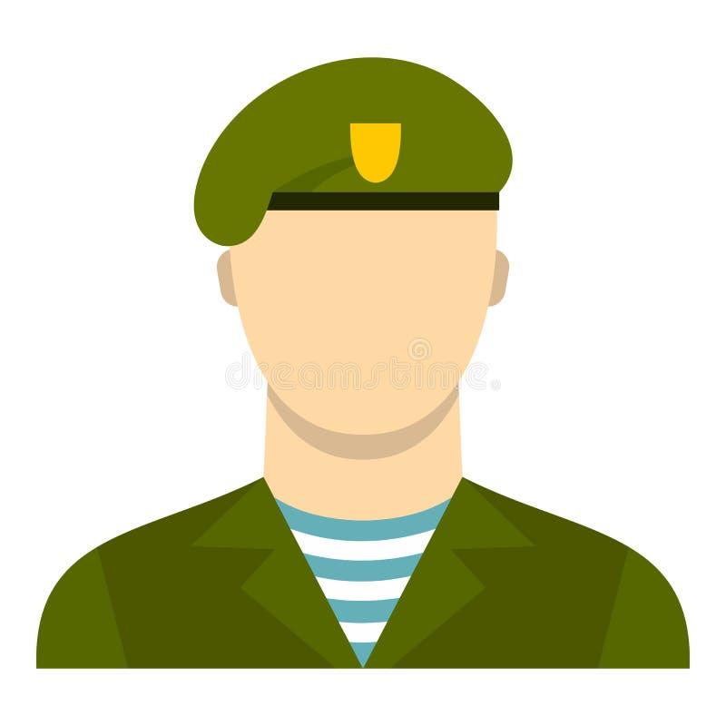 Icono del soldado del ejército, estilo plano libre illustration