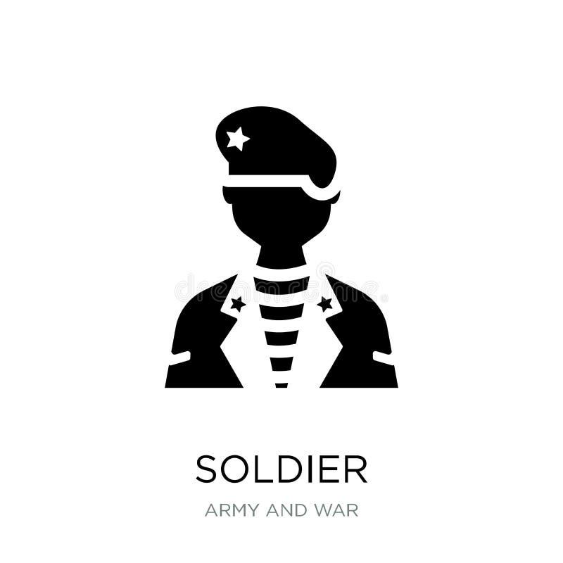 icono del soldado en estilo de moda del diseño Icono del soldado aislado en el fondo blanco símbolo plano simple y moderno del ic ilustración del vector