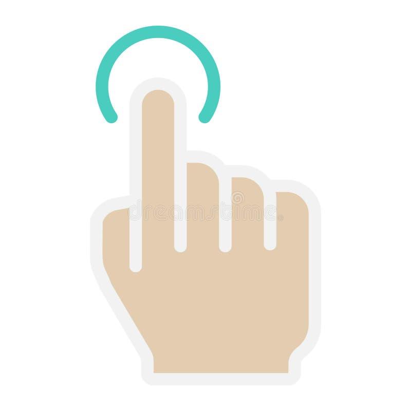 Icono del solo golpecito, tacto y gestos de mano planos ilustración del vector