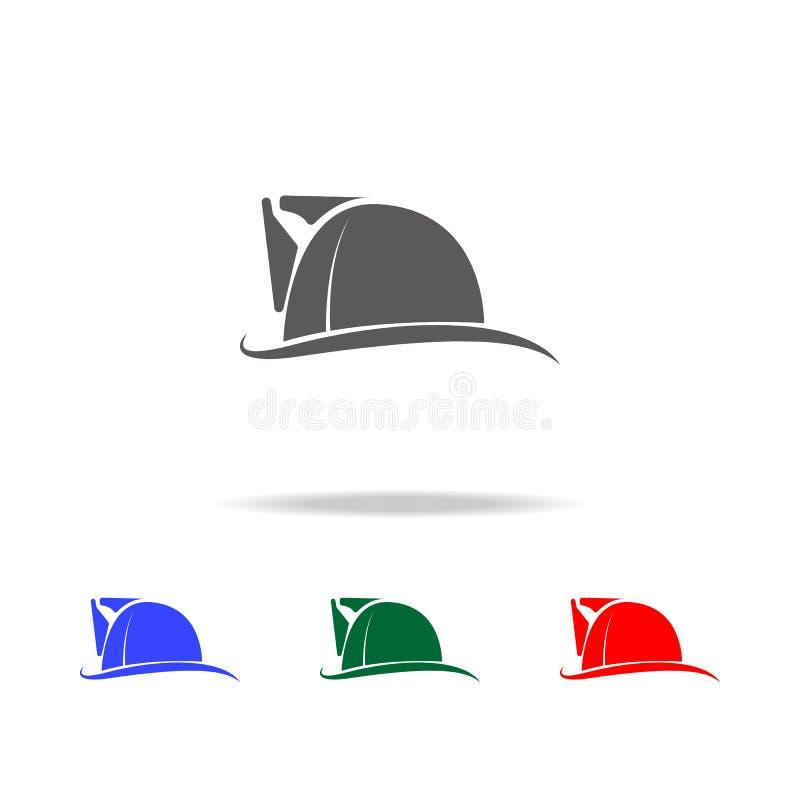 Icono del sombrero del bombero Elementos de los iconos coloreados multi del bombero Icono superior del diseño gráfico de la calid libre illustration