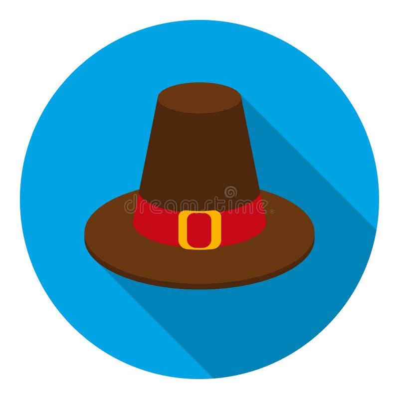 Icono del sombrero del peregrino en estilo plano en el fondo blanco Ejemplo canadiense del vector de la acción del símbolo del dí ilustración del vector