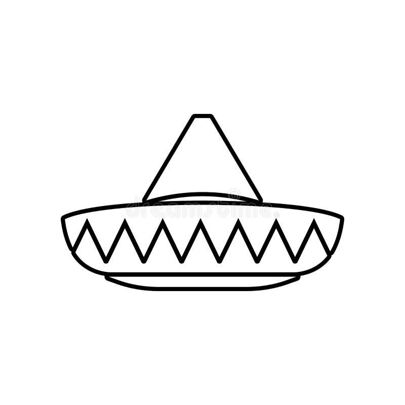 Icono del sombrero mexicano Elemento de M?xico para el concepto y el icono m?viles de los apps de la web Esquema, l?nea fina icon ilustración del vector