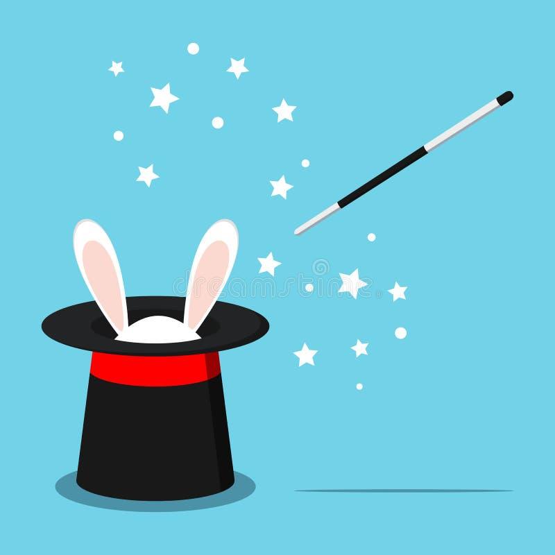 Icono del sombrero negro mágico con los oídos blancos del conejito del conejo ilustración del vector