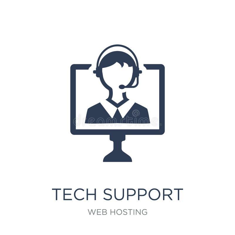 Icono del soporte técnico Icono plano de moda del soporte técnico del vector en blanco ilustración del vector