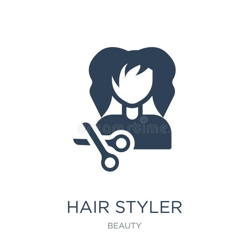 icono del styler del pelo en estilo de moda del diseño icono del styler del pelo aislado en el fondo blanco icono del vector del  libre illustration