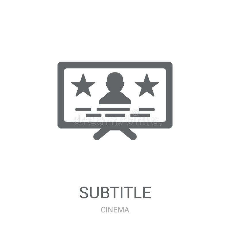 icono del subtítulo Concepto de moda del logotipo del subtítulo en el fondo blanco ilustración del vector