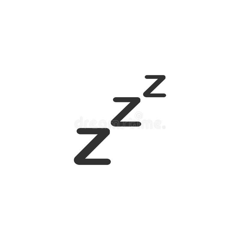 Icono del sueño de ZZZ Ilustración del vector aislada en el fondo blanco ilustración del vector