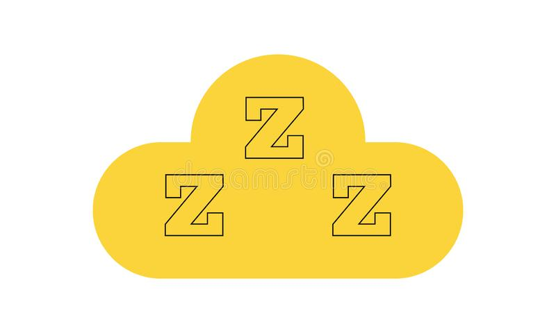 Icono del sue?o Tres z en nube Dormita el s?mbolo para su dise?o Ilustraci?n del vector ilustración del vector