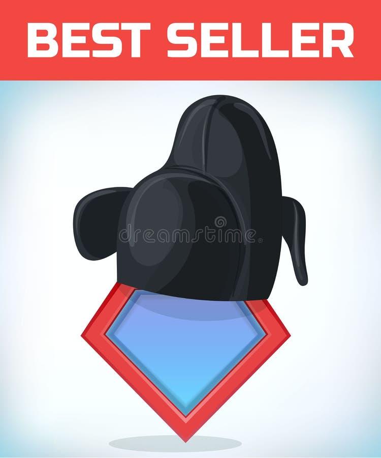 Icono del super héroe - logotipo del super héroe Escudo del superhéroe con el sombrero coreano Tocado del traje de mascarada Carn ilustración del vector