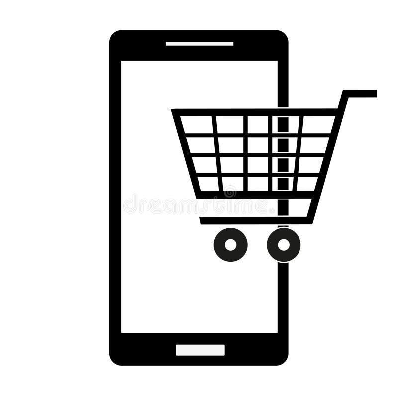 Icono del supermercado en el teléfono en un fondo blanco libre illustration