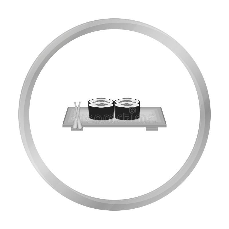 Icono del sushi en estilo monocromático aislado en el fondo blanco Ejemplo del vector de la acción del símbolo de Japón stock de ilustración