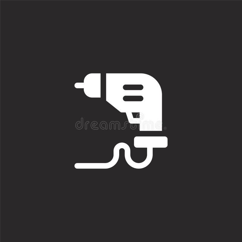 Icono del taladro Icono llenado del taladro para el diseño y el móvil, desarrollo de la página web del app icono del taladro de l ilustración del vector