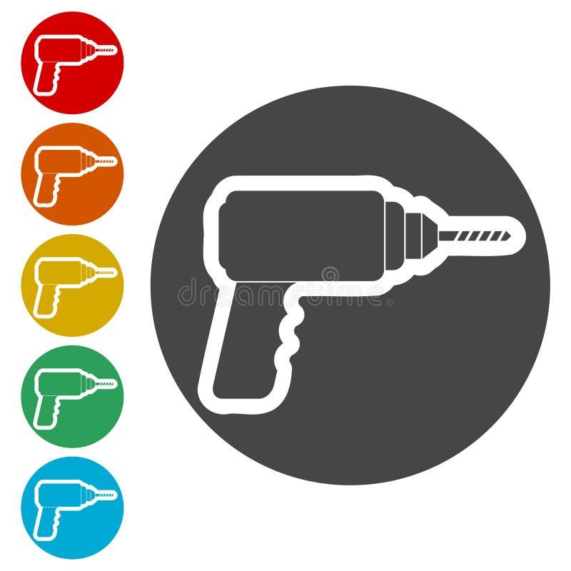 Icono del taladro, icono plano del taladro eléctrico stock de ilustración