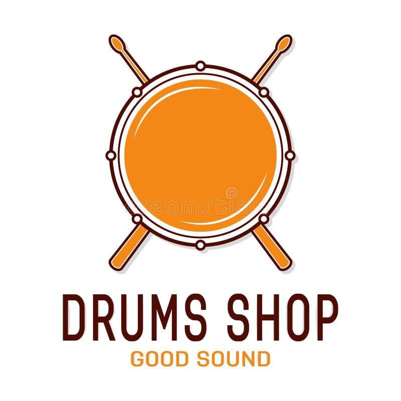 Icono del tambor del vector con los palillos Logotipo de la escuela del tambor stock de ilustración