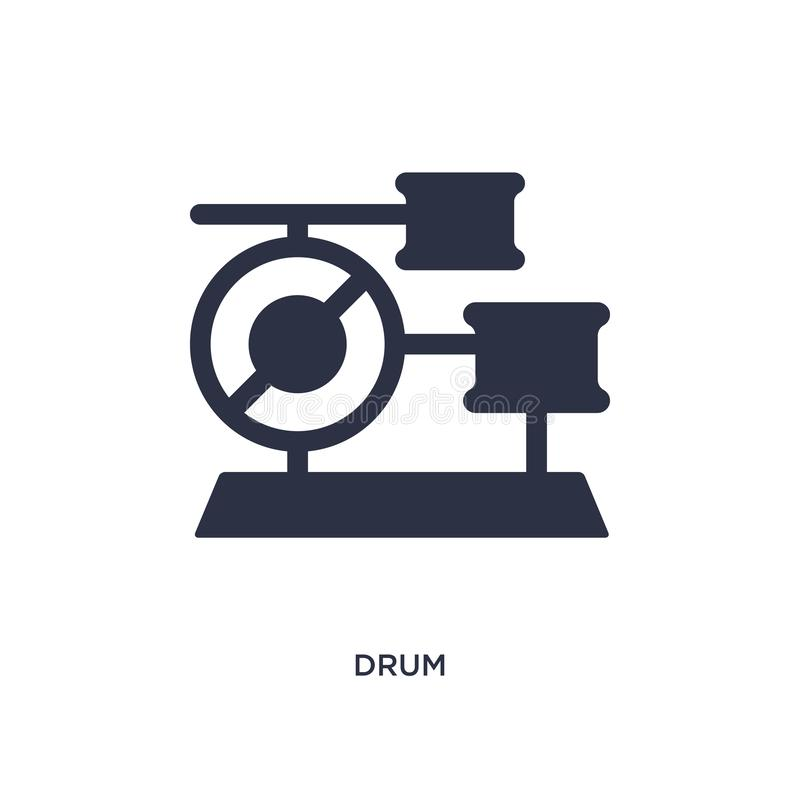 Icono del tambor en el fondo blanco Ejemplo simple del elemento del concepto del brazilia ilustración del vector