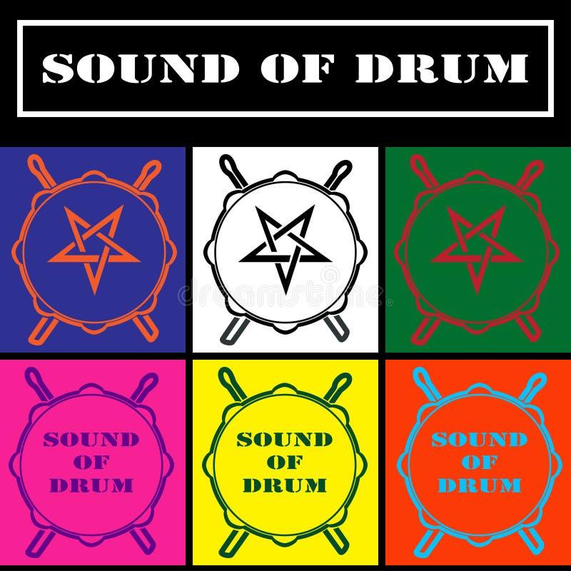 Icono del tambor, logotipo, símbolo Ejemplo del gráfico de vector aislado en fondo coloreado ilustración del vector