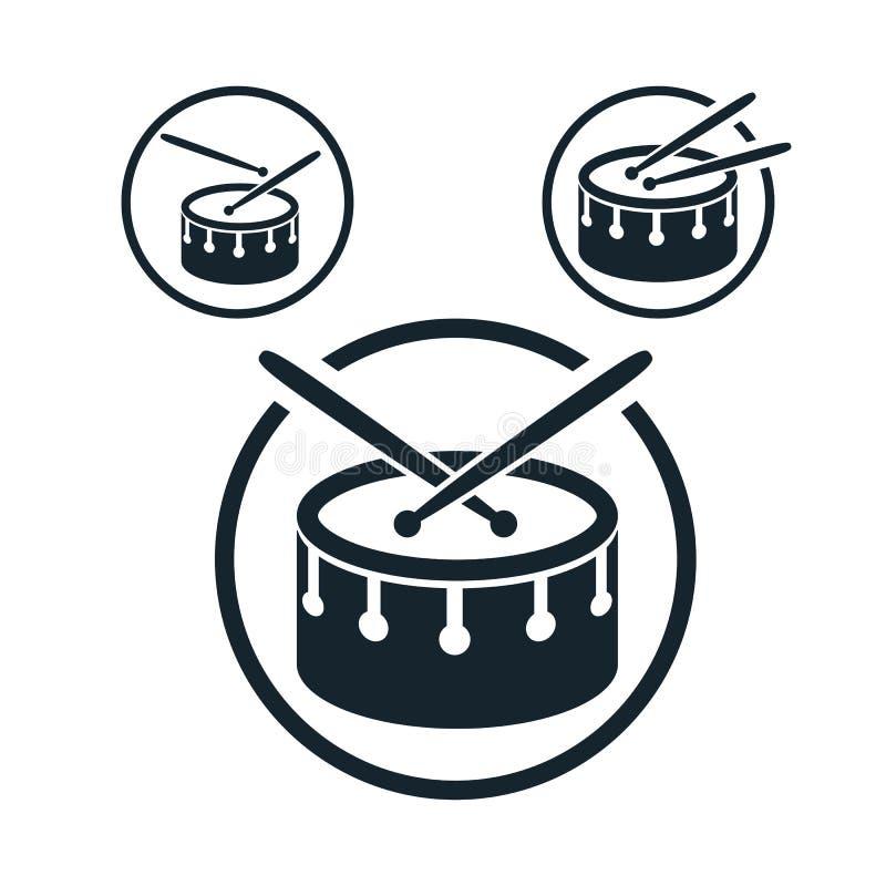 Icono del tambor, solo símbolo del tema de la música del vector del color para su ilustración del vector