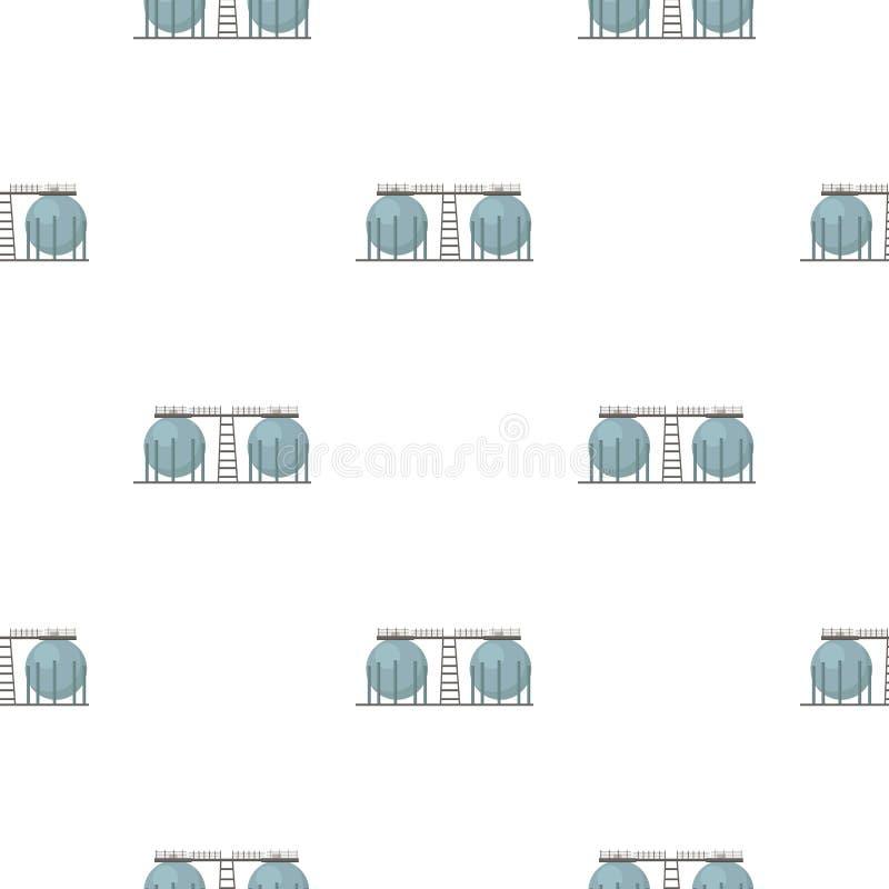 Icono del tanque de la refinería de petróleo en estilo de la historieta aislado en el fondo blanco Ejemplo del vector de la acció stock de ilustración