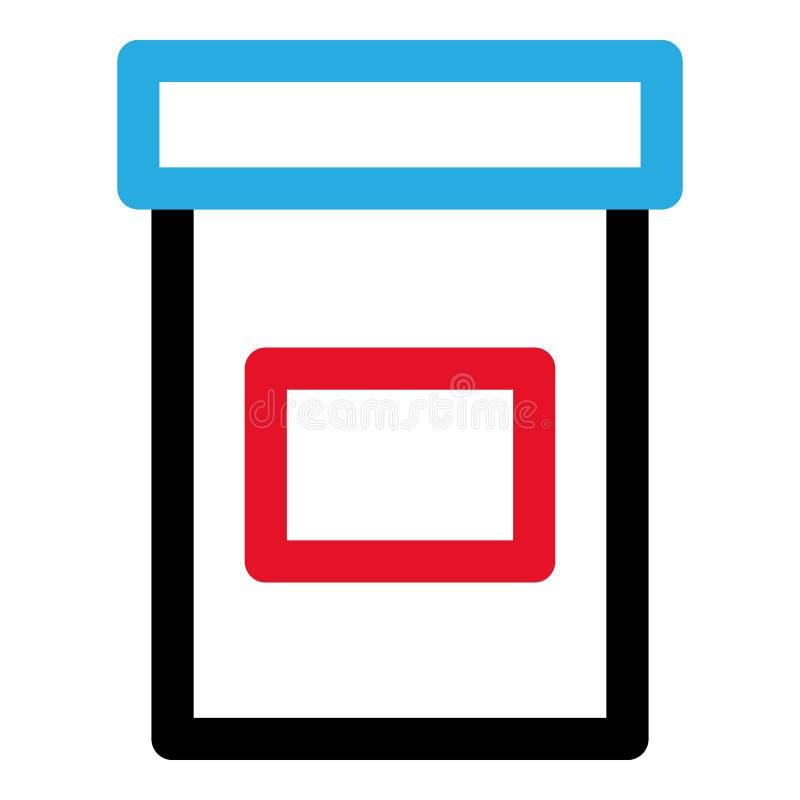 Icono del tarro de la píldora, estilo del esquema ilustración del vector