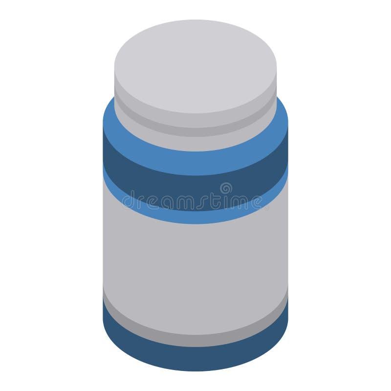 Icono del tarro de la píldora, estilo isométrico libre illustration