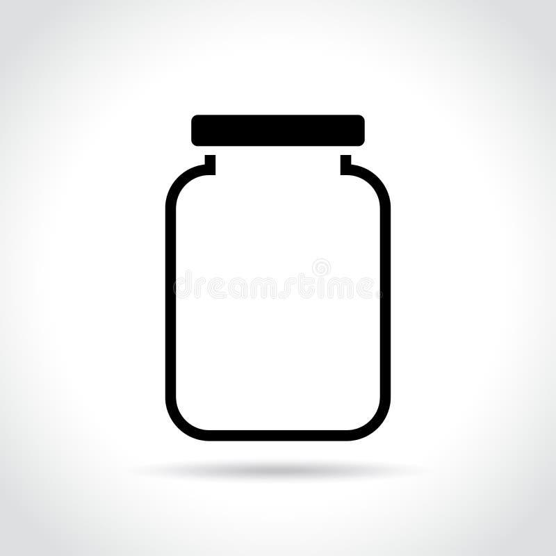 Icono del tarro en el fondo blanco stock de ilustración