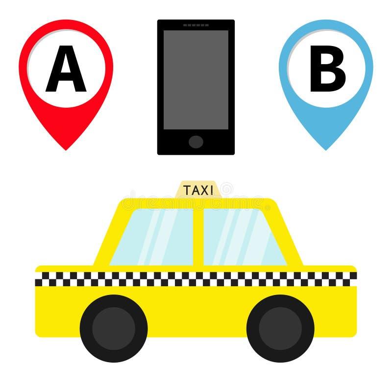 Icono del taxi del coche del taxi Sistema del marcador de la navegación del indicador del mapa de Placemark Servicio móvil del ap libre illustration