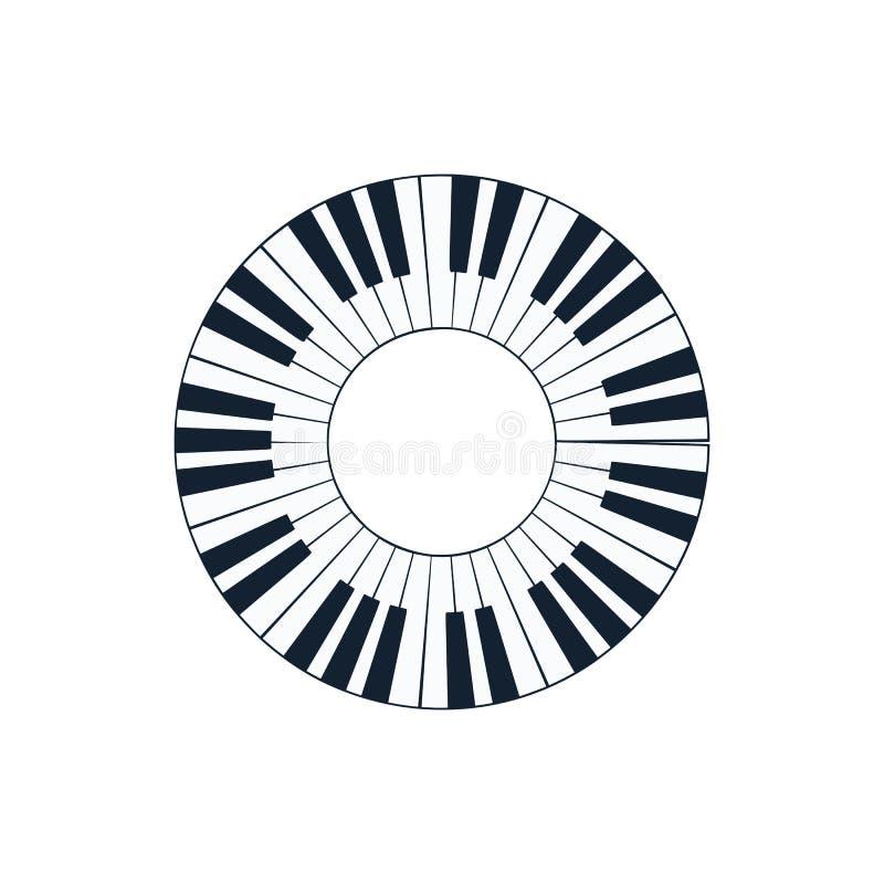 Icono del teclado del círculo del piano stock de ilustración