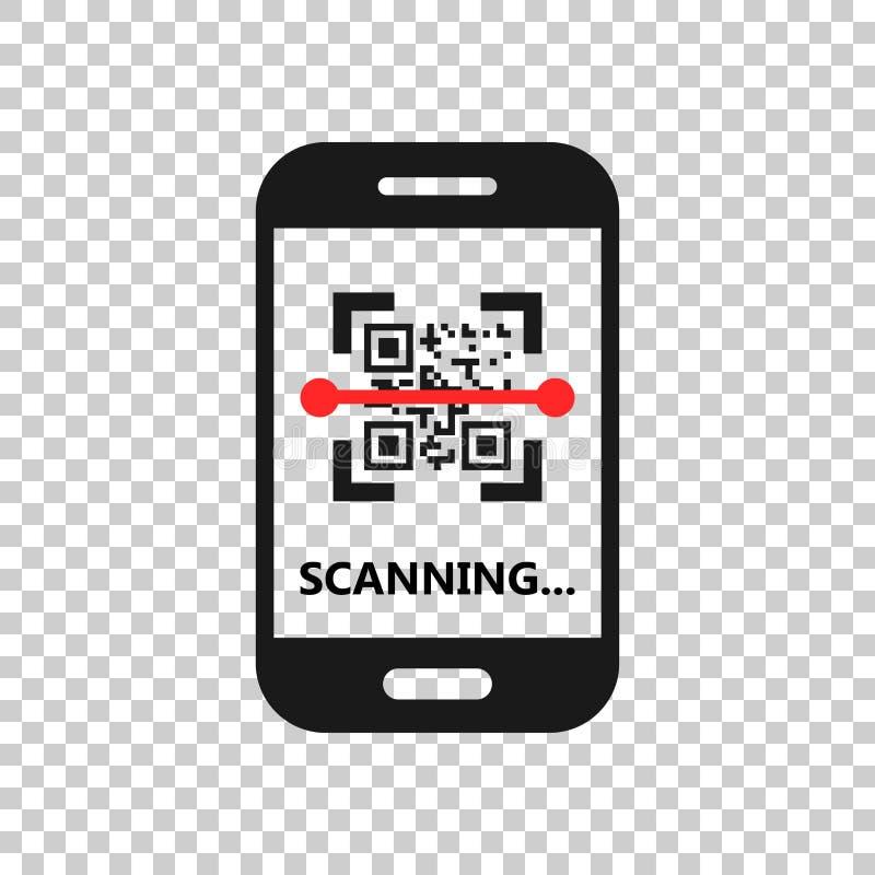 Icono del teléfono de la exploración del código de Qr en estilo transparente Escáner en el ejemplo del vector del smartphone en f ilustración del vector