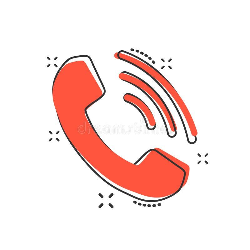 Icono del teléfono de la historieta del vector en estilo cómico Contacto, servi de la ayuda ilustración del vector