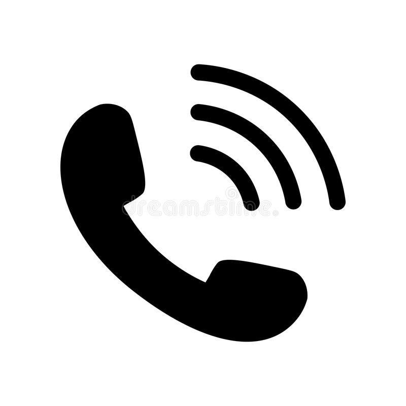 Icono del teléfono en negro con las ondas stock de ilustración