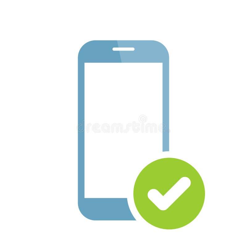 Icono del teléfono móvil con la muestra del control El icono del teléfono móvil y aprobado, confirma, hecho, señal, símbolo termi ilustración del vector