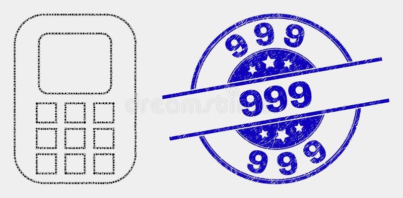 Icono del teléfono móvil del pixel del vector y sello del Grunge 999 libre illustration
