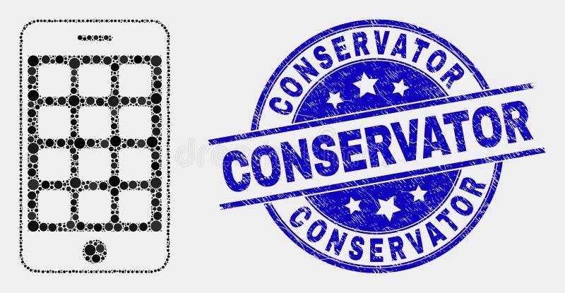 Icono del teléfono móvil del pixel del vector y sello rasguñado del conservador stock de ilustración