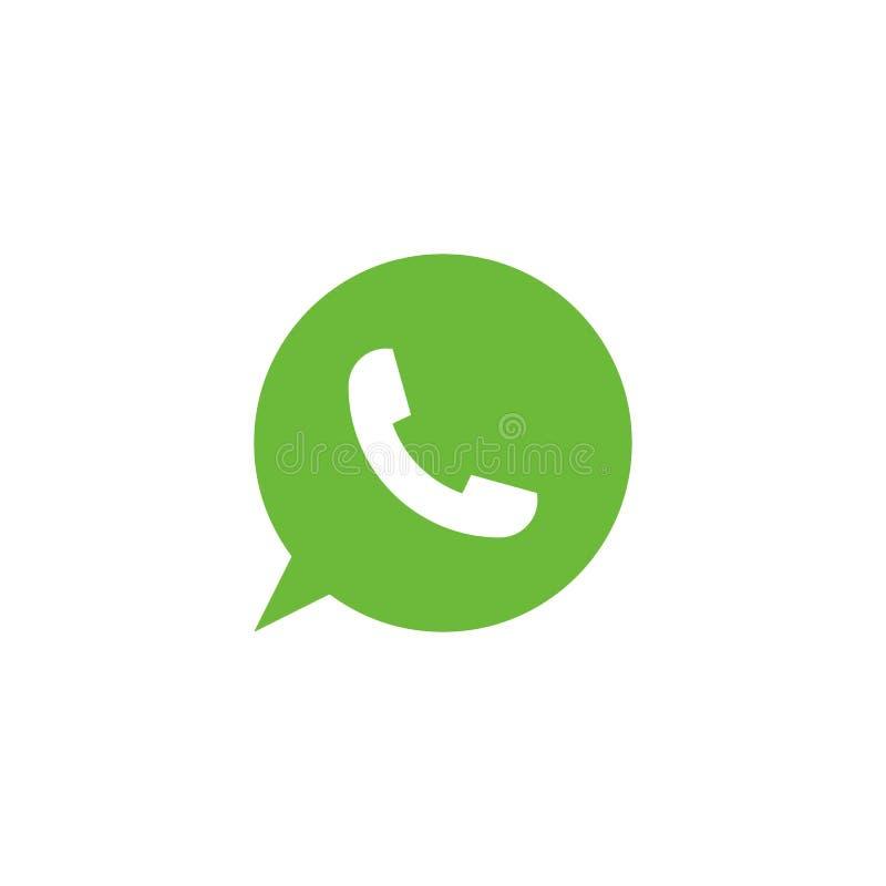 Icono del teléfono Icono verde del vector Símbolo del teléfono Muestra del tubo del teléfono Icono de la burbuja Icono de la llam libre illustration
