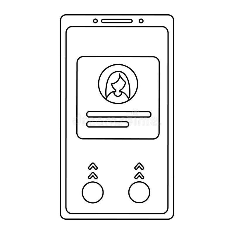 Icono del tel?fono m?vil del esquema S?mbolo de Smartphone Ejemplo simple del vector libre illustration