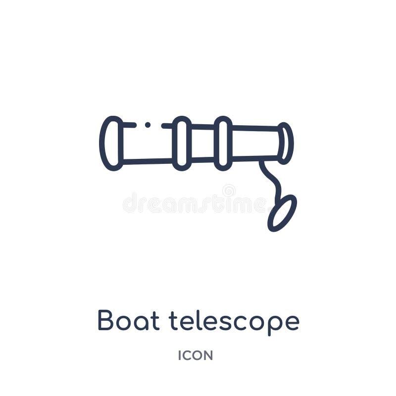 Icono del telescopio del barco de la colección náutica del esquema Línea fina icono del telescopio del barco aislado en el fon stock de ilustración
