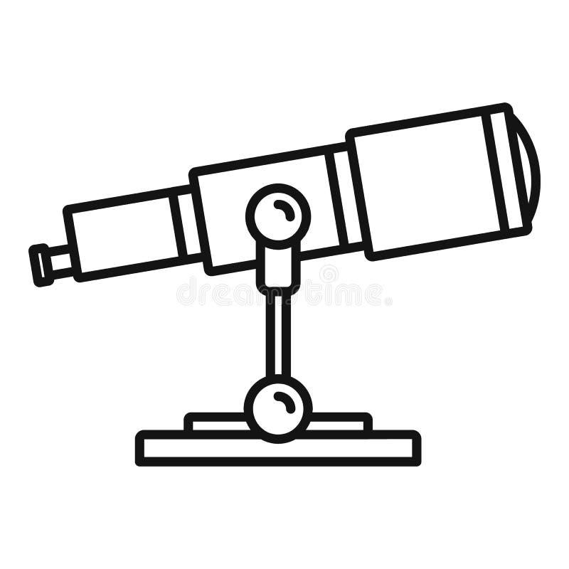 Icono del telescopio de la investigación del espacio, estilo del esquema ilustración del vector