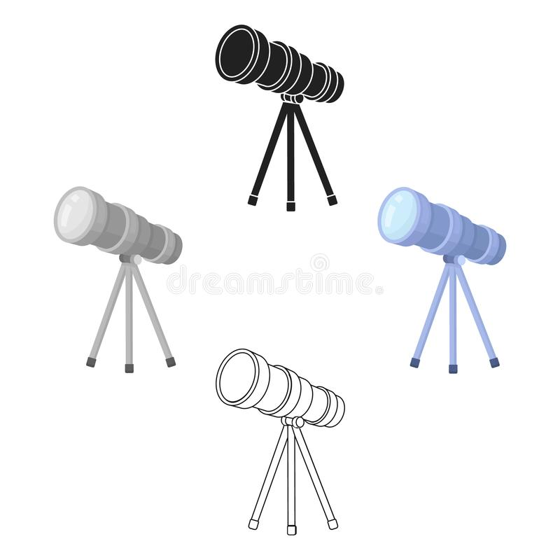 Icono del telescopio en la historieta, estilo negro aislada en el fondo blanco Ejemplo del vector de la acci?n del s?mbolo del es ilustración del vector