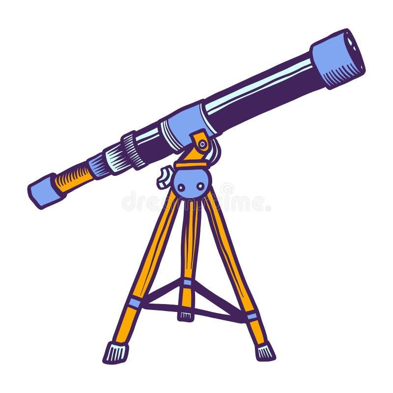 Icono del telescopio espacial, estilo exhausto de la mano ilustración del vector