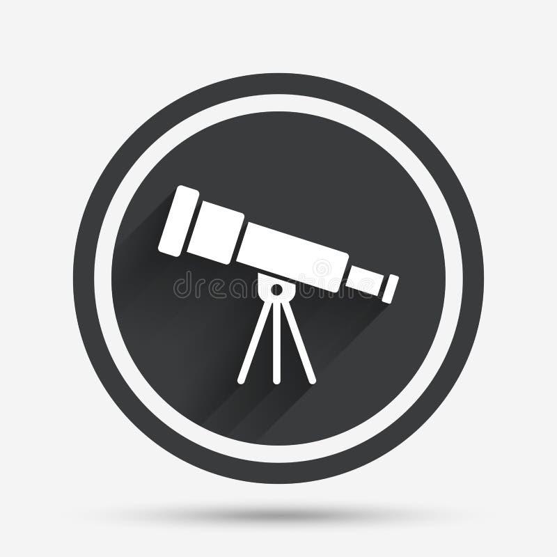Icono del telescopio Símbolo de la herramienta del catalejo ilustración del vector